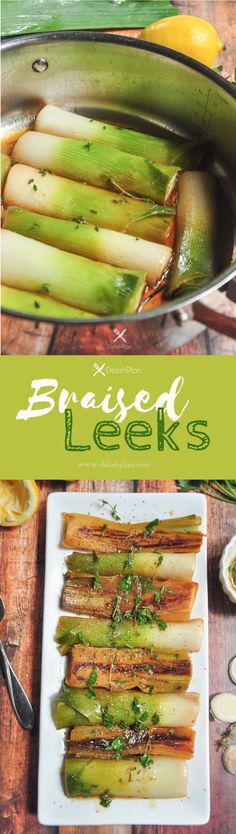Leeks braised in butter, white wine, and homemade chicken broth with fresh herbs and lemon juice. Absolutely unconventional, yet amazing! Vegetarian Chicken, Vegetarian Recipes Easy, Vegetable Recipes, Healthy Recipes, Healthy Food, Free Recipes, Delicious Recipes, Sweets Recipes, Healthy Meals