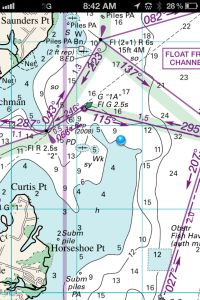 Williams & Heintz Map App Screen Shot of the Chesapeake Bay is Chart 5 in the printed Maryland Cruising Guide