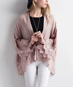 Mauve Crochet-Trim Open Cardigan Here you will find the best online  discount clothing store. Krystal Karki · Clothes 26d3257348c8