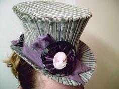 The Tara   Grey Striped Velvet Over Shimmery by GypsyLadyHats