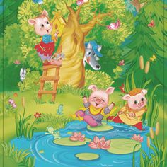 Three Little Pigs Christmas Card Background, Baby Illustration, Three Little Pigs, Cute Pigs, Tinkerbell, Color Inspiration, Painting & Drawing, Illustrators, Fairy Tales