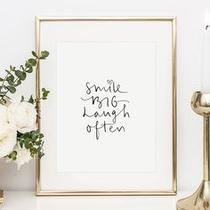 """Hang this positive slogan """"Smile big, laugh often"""" as a cute handlettering poster by Tales by Jen on your picture wall. A really nice eye-catcher! Make You Smile Quotes, Poster Shop, Stair Art, Yoga Art, Reasons To Smile, Short Quotes, Wall Art Quotes, Letter Art, Art Wall Kids"""
