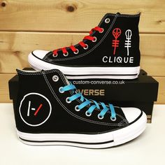 "customconverseuk: "" Twenty One Pilots Converse #customconverse #twentyonepilots #top #converse #clique #skeletonclique #allstars #kicks #chucks #tylerjoseph #joshdun """