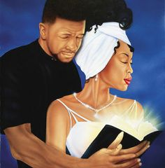 An African-American work of art depicting a black couple holding an open bible with radiating pages as the man wraps arms around the woman. Black Love Art, My Black Is Beautiful, Black Love Images, Black Ish, Art Amour, Natural Hair Art, Black Art Pictures, Religion, Black Artwork