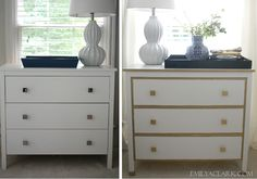 IKEA nightstand makeover before and after:  http://emilyaclark.com/2013/09/our-white-gold-ikea-nightstand-makeover/