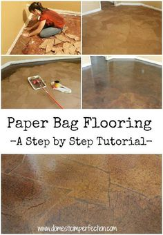 If you're considering redoing one of your floors, check out this super cool paper bag floor! Talk about reduce-reuse-recycle! Paper Bag Flooring, Diy Flooring, Inexpensive Flooring, Cheap Flooring Ideas Diy, Paper Bag Walls, Brown Paper Flooring, Flooring Ideas Unique, Cheap Flooring Options, Stairs Flooring
