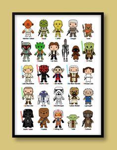 Star Wars inspired A-Z print, kids wall art, Star Wars, Darth Vader, Jedi, Stormtrooper, Luke Skywalker, A-Z print, Star Wars nursery