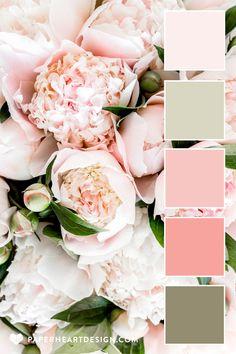 Color Schemes Colour Palettes, Colour Pallette, Color Combinations, Peach Color Schemes, Spring Color Palette, Decorating Color Schemes, Peach Pallete, Pink Palette, Peony Colors