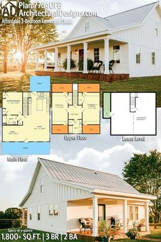Bright and Airy Country Farmhouse Architectural Designs Affordable Farmhouse Classic Plan Barn House Plans, New House Plans, Dream House Plans, Dream Houses, Square House Plans, Small House Plans Under 1000 Sq Ft, Tiny Home Floor Plans, Country Home Plans, Small Home Plans