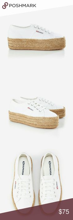 Espadrille Platform Sneaker These Superga sneakers are the classics you know and love refreshed with a fun platform sole in natural raffia.  TRUE WHITE 1 Superga Shoes Sneakers