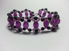 Purple Black and Pink Weave Bracelet by tahdeah on Etsy, $8.00