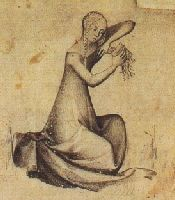 A woman combing her hair. Paris, circa 1400 from a pen and ink drawing in the Staatliche Museen Preussischer Kulturbesitz, Kupferstichkabinett, Berlin