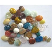 Mixed Gemstone Beads, Assorted Colors, about 6~15mm wide, 6~18mm long, hole: 0.5~1mm