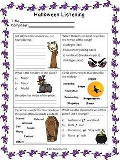 FIVE Halloween Themed Listening Response Worksheets.... designed for use with a variety of grade levels in mind and can be used with all your Halloween listening activities. ♫ CLICK through to read more or save for later!  ♫