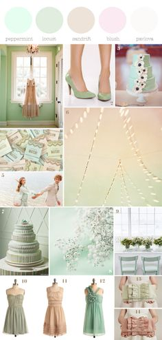 mint with blush colour palette