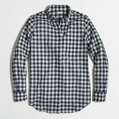 J.Crew Factory gingham button-down shirt ($55) via Polyvore featuring tops, shirts, gingham, blouses, button ups, j crew top, longsleeve shirt, gingham top, shirts & tops and long sleeve button up shirts
