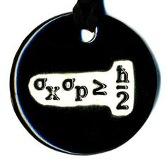 Items similar to Heisenberg Uncertainty Principle Ceramic Necklace in Black on Etsy Heisenberg, Ceramic Necklace, Ceramic Pendant, Jewelry Design, Unique Jewelry, Hand Painted Ceramics, Ceramic Painting, Amy, Cool Stuff