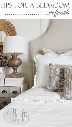 Great tips for a bedroom refresh without spending a ton of money.