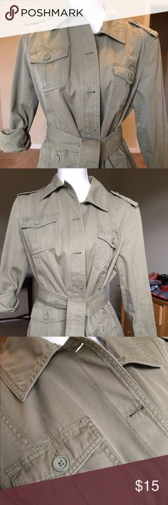 Gap Army Green Militart Inspired Jacket The Gap army green denim jacket can be worn with everything!  Can be worn sleeve down or rolled up and is in great condition- only a minor flaw on arm that is not noticeable when sleeves are rolled up. GAP Jackets & Coats Jean Jackets