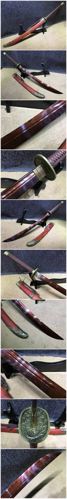 Broadsword,Damascus steel red blade,Red scabbard,Alloy fitting,Length 35 inch