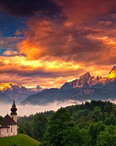 Wunderschöne Abendstimmung im Berchtesgadener Land #Bayern