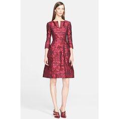 Oscar de la Renta Stripe Rose Jacquard Dress ($2,690) ❤ liked on Polyvore featuring dresses, bordeaux, graphic dresses, rose dress, floral printed dress, oscar de la renta and 3/4 sleeve dress