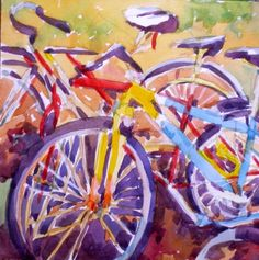 Bicycle pile, painting by artist Jo MacKenzie