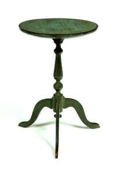 18th c. or early 19th c. Queen Anne type candle stand in grungy green paint.  google.com