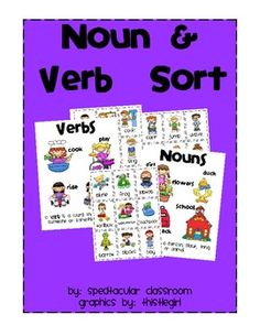 Noun & Verb Sort. I like it because of the pictures, this can help my kiddos!!