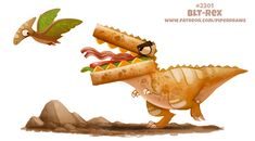Daily Paint BLT-Rex by Cryptid-Creations on DeviantArt Cute Food Drawings, Cute Animal Drawings Kawaii, Kawaii Drawings, Cute Fantasy Creatures, Mythical Creatures Art, Fruit Animals, Cute Animals, Animal Puns, Animal Food