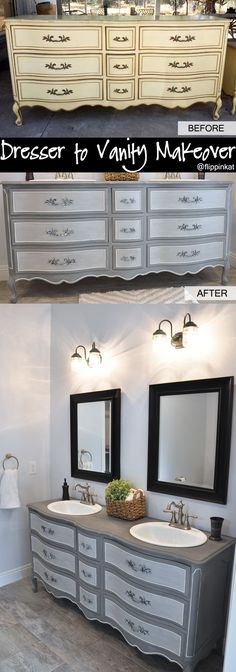 Dresser to vanity and bathroom renovation. Got an old French Provincial style dr… Dresser to vanity and bathroom renovation. Got an old French Provincial style dresser off Craigslist and gave it a makeover! Refurbished Furniture, Repurposed Furniture, Furniture Makeover, Mahogany Furniture, Industrial Furniture, Bathroom Renovations, Home Renovation, Home Remodeling, Bathroom Ideas