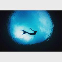 Silhouette of mermaid in water