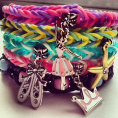 Rainbow Loom Bracelets with Charms or Beads by CraftsforDiabetes, $6.00