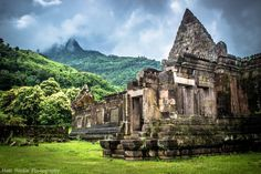 Wat Phu (Vat Phou) Ruins, Campasak, Laos.  A rainy, overcast made for difficult photography conditions, but added to the amazing atmosphere of this ancient Khmer temple complex which was constructed between 1100 - 1300AD.