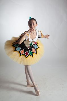 An exclusive creation Danzatelier Italy for Dancewear by Patricia. This exquisite Harlequinade professional tutu can also be used for the role of the harlequin doll in the Nutcracker ballet. The top o