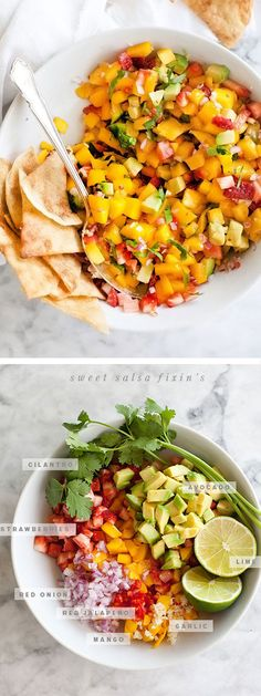 Mango Salsa with Strawberries and Avocado is a light topper for fish, chicken, pork and of course, CHIPS! | foodiecrush.com