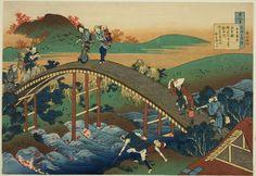 "Katsushika Hokusai   Japanese, 1760-1849, People Crossing an Arched Bridge (Ariwara no Narihira) from the series ""One Hundred Poems as Explained by the Nurse (Hyakunin isshu uba ga etoki)"""