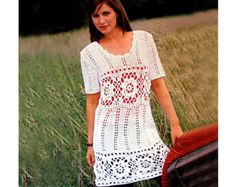 Crochet dress PATTERN, crochet boho tunic PATTERN, crochet beach dress pattern, detailed description in English, crochet boho dress pattern.