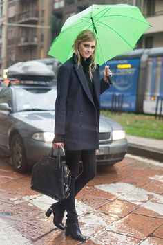 Sigrid under her umbrella. #offduty in Milan. #SigridAgren