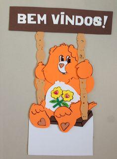 Placa de Porta- Ursinhos Carinhosos, para decoração de sala de aula.