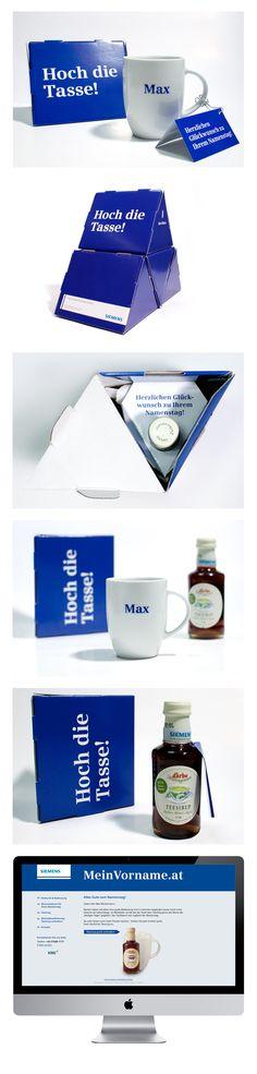 Siemens Namenstagsmailing Mailing mit personalisierter Tasse, Datenaktualisierung auf Landing Page, als Dankeschön erhält Kunde gratis Teesirup