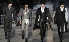 Alexander McQueen F/W 2009 Menswear. So for a modern Jack the Ripper, C could just wear a beanie, fingerless gloves, scarf, his black coat, dress pants, and carry a bloody knife. Then I could be a more modern prostitute.