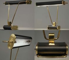 Lamp designed by Eileen Gray, made by Jumo, France. Brass, enamel. H 39 cm, W 44 cm. Interesting lamp by the highly original designer.