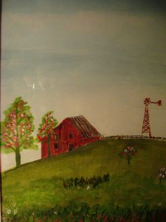 Barn and Windmill in Summer-painting by my Dad- Russell Elvidge