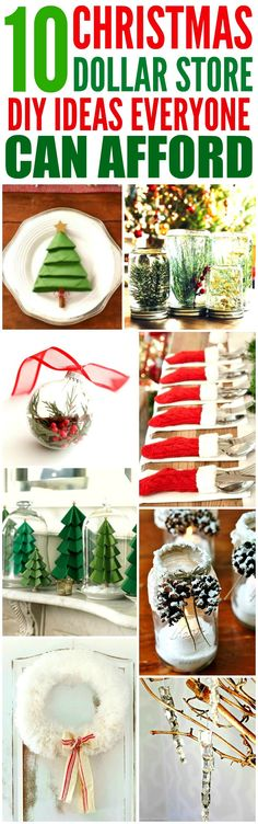These 10 Dollar Store Christmas Decor Ideas are THE BEST! I'm so glad I found these GREAT ideas! Now I have some cute and affordable ways to decorate my home! Definitely repinning!