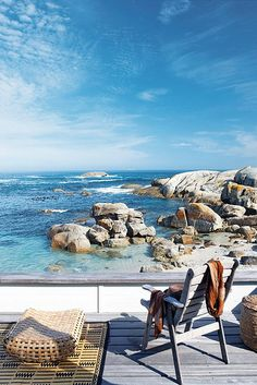 Deck, ocean, rocks, beach