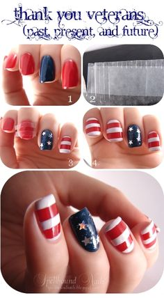 nails nailart nail art polish mani manicure Spellbound patriotic United States US USA American Flag Veterans Day stripes red white blue stars holo holographic Wet n Wild I Red a Good Book Fergie Hollywood Walk of Fame China Glaze First Mate tutorial Pretty Nail Colors, Pretty Nails, Galaxy Nails Tutorial, American Nails, American Flag, Nails Decoradas, Flag Nails, Holiday Nail Art, Nail Polish Art