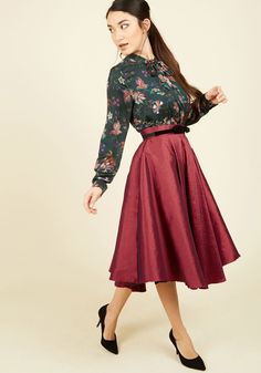 Mellifluous Maven Midi Skirt in Ruby. Nothing appeals to the ear more than a beautiful tune - and nothing appeals more to the eye than you swirling around the dance floor in this deep red skirt! #red #modcloth