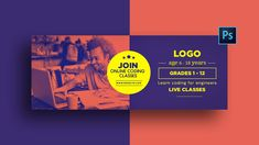 Web Design, Graphic Design, Online Coding Classes, Photos Fitness, Timeline Cover, Banner Online, Facebook Banner, Learn To Code, Image Editing