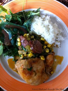 Rich and Sweet by Bia Rich: Smoked Paprika Braised Chicken with Andouille Sausage, Corn, Greens and Fresh Cilantro